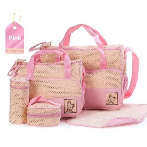 5 in 1 Multifunctional Baby Bag Pink Dots