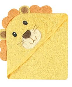 A hooded baby bath towel in a lion style design