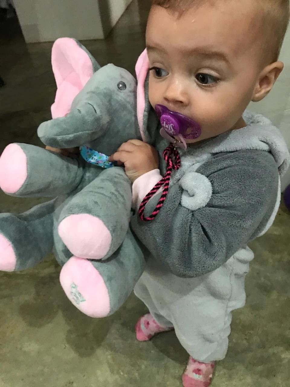 Plush Peek-a-Boo Elephant - Grey/Pink   Baby Stuff Online