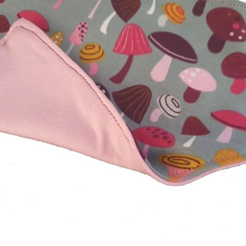 BabyBeanieandBibSet PinkMushrooms.2